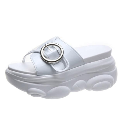 White / 34 Chunky Platform Slide Electric Solitude