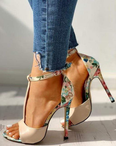 White / 39 New Street Floral Heels Electric Solitude