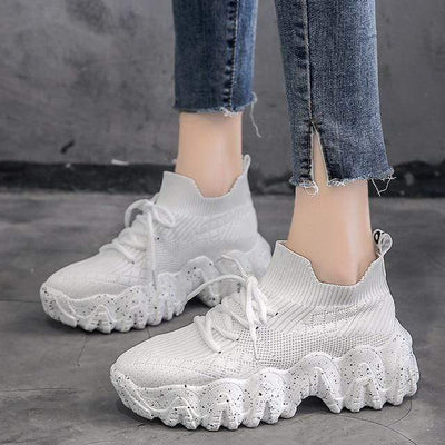 White / 8.5 Atomic Chunky Womens Sneakers imxgine