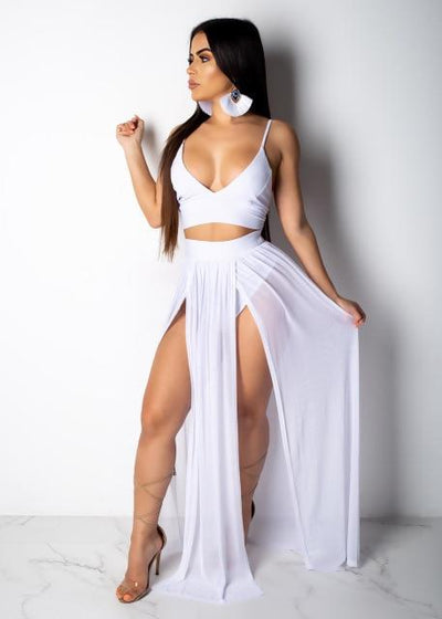 White / M Two-Piece Maxi Dress Baron Supply Co