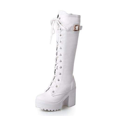 white shoes / 4 Genuine Leather Knee High Boots imxgine