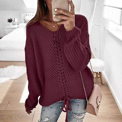 Women's Tops Burgundy / XXXL Ronny Knitted Sweater that Dealio