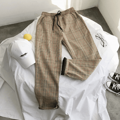 Yellow / XS Plaid Trousers with Elastic Waist imxgine