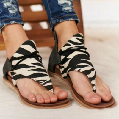 Zebra / 5 Leather Print Sandals Baron Supply Co