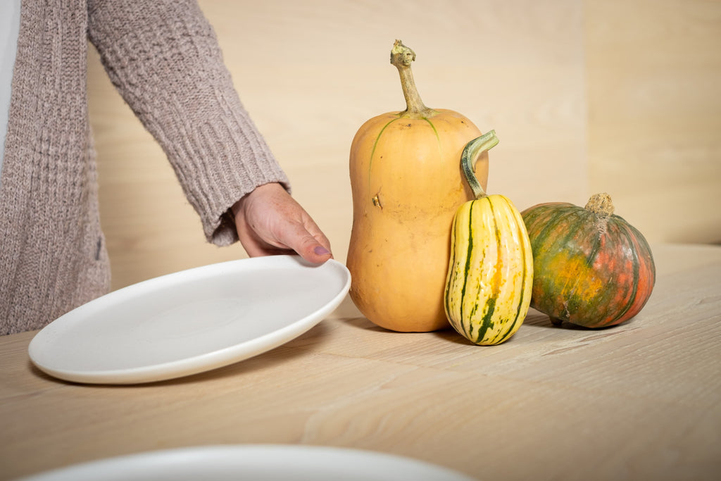 squash and plates