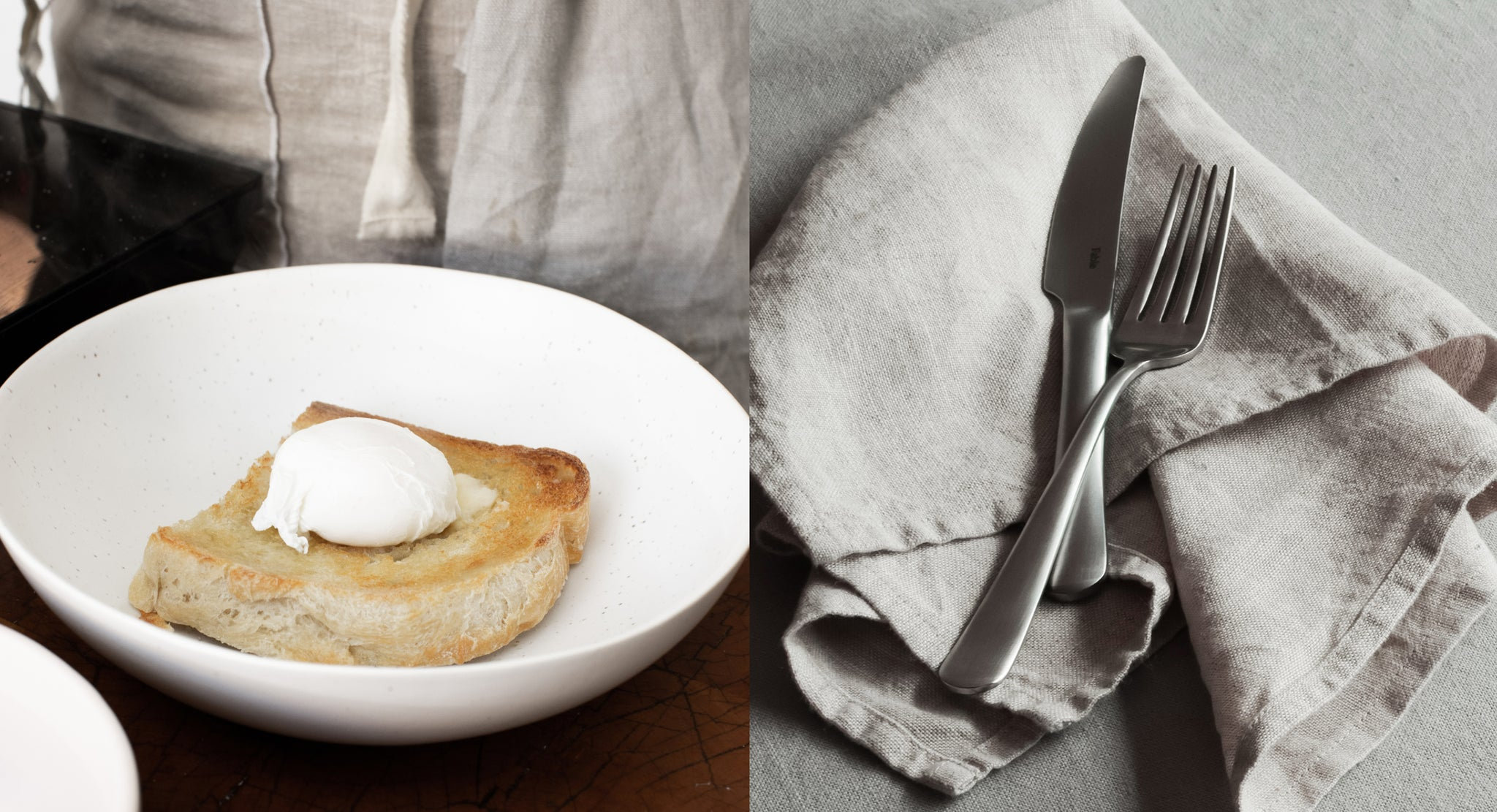 Ricotta french toast with table linens