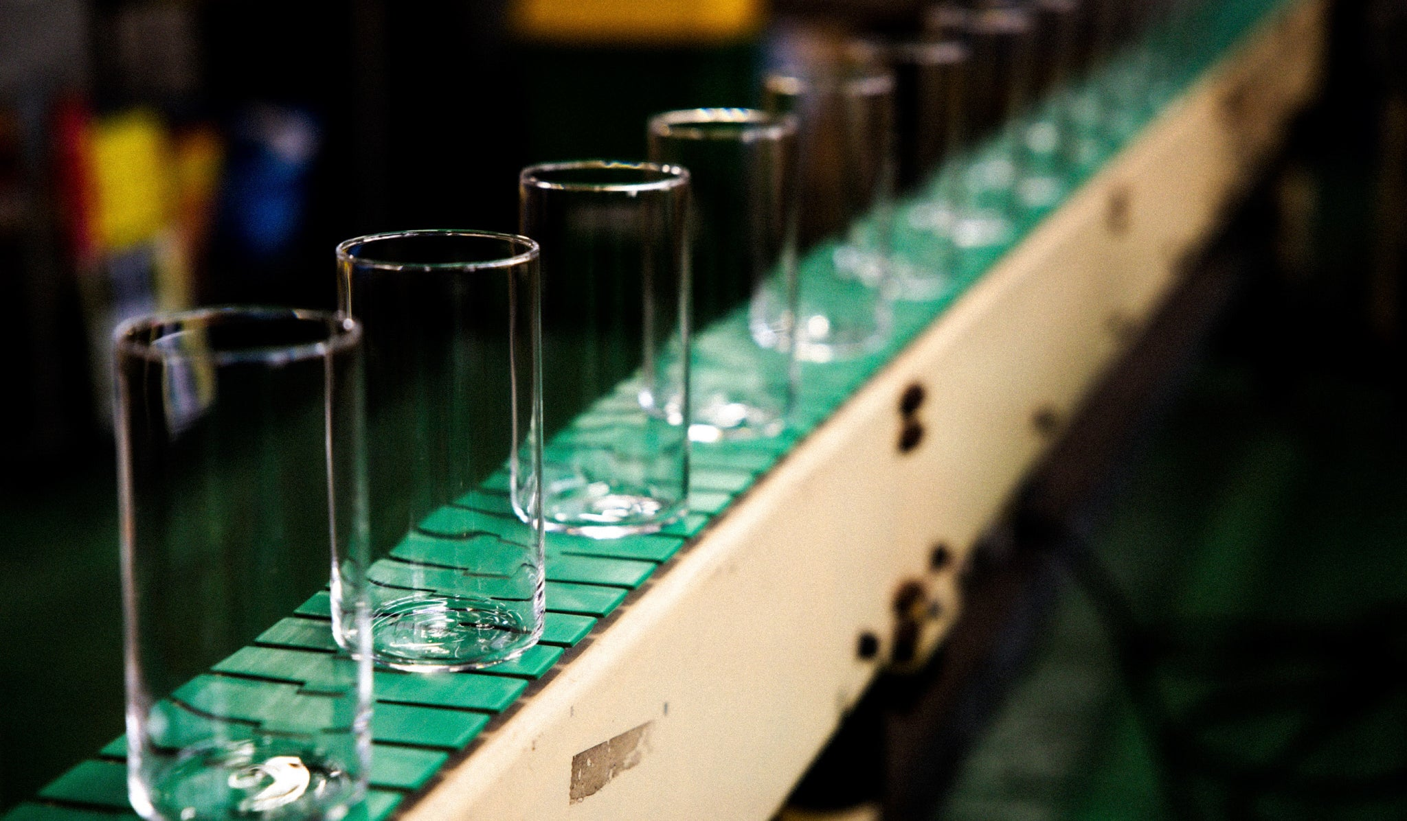 Sode Lime glassware on production line