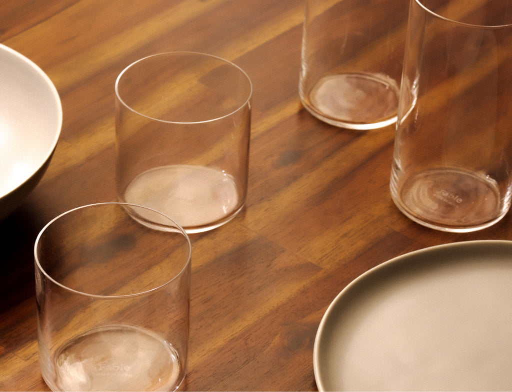 Glassware on dining table