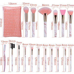 Marble Pink 16pc Brush Set