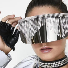 Load image into Gallery viewer, Rhinestone-Oversized-Mirror-Sunglasses-Women-Men-Luxury-Big-Frame-Mask-Diamond-Goggle-Eye-Glasses-Silver-
