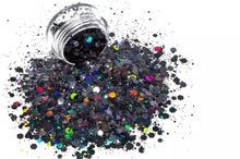 Load image into Gallery viewer, chunky glitter mix fine glitter black