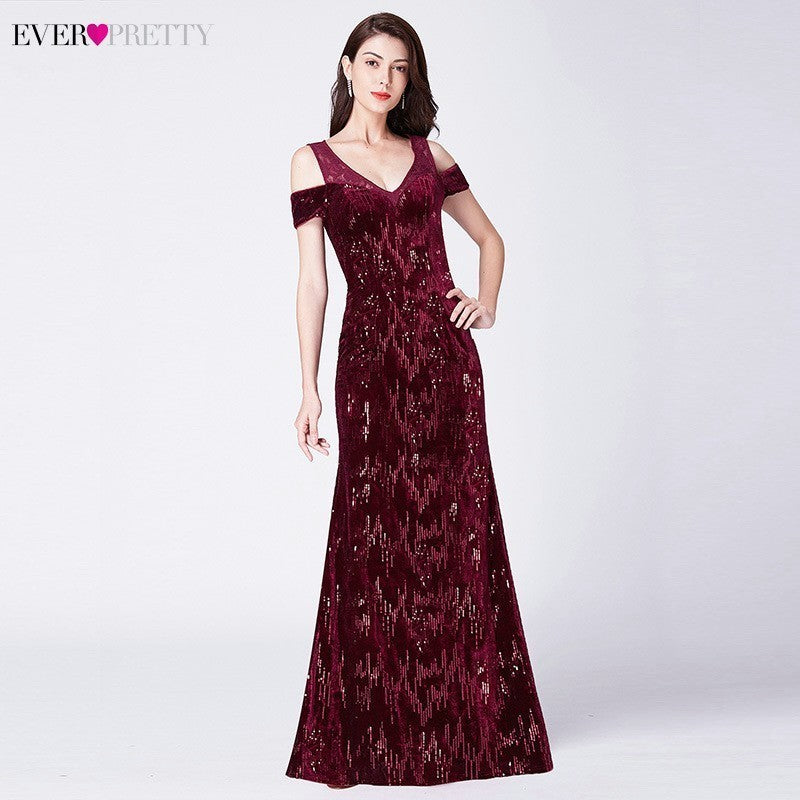 89ce8d85007 Vintage Evening Dresses Long Ever Pretty V-Neck Mermaid Sequined Shiny Party  Dresses EP07396BD Elegant