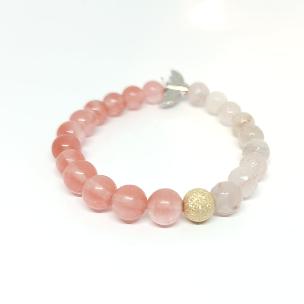 Gold Dust With Rose Quartz and Strawberry Quartz Bracelet