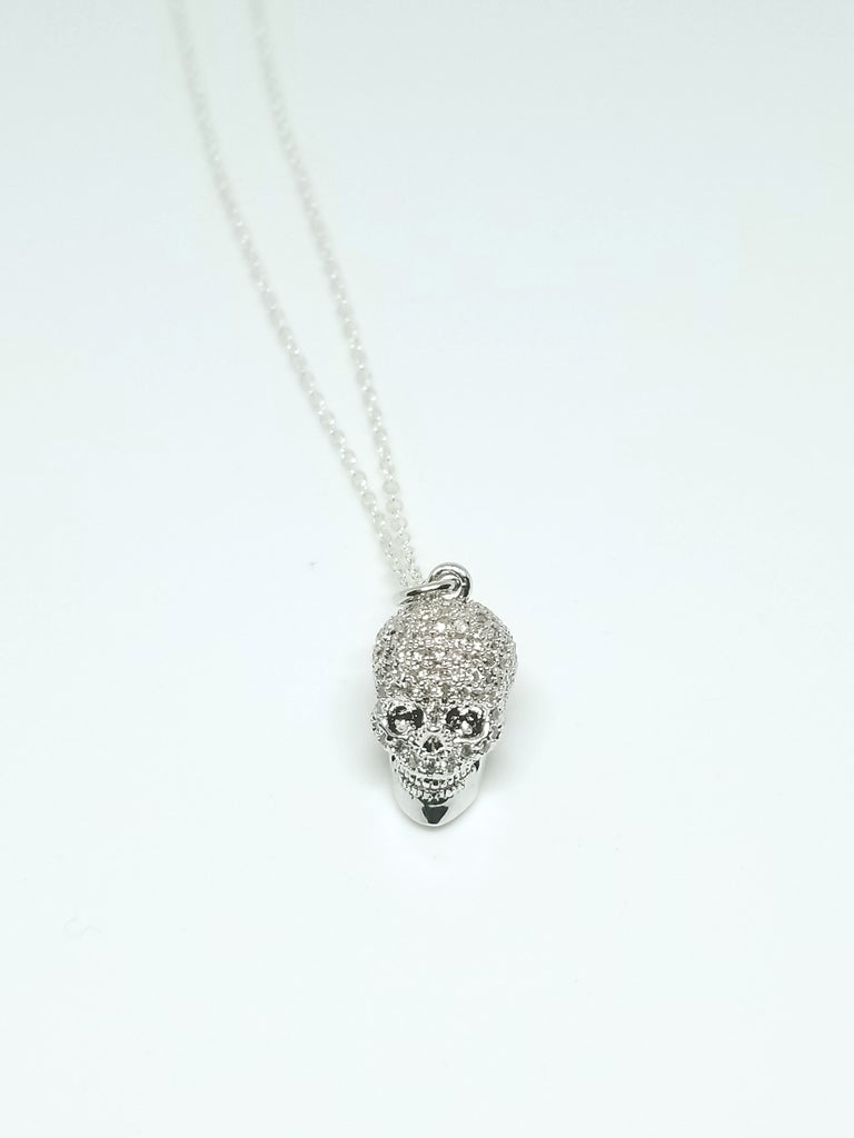 Silver CZ Diamond Skull Necklaces