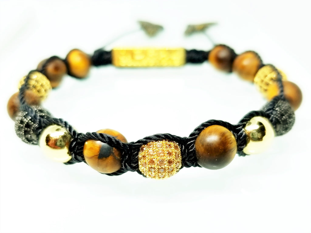 MATTE TIGER WITH BLACK AND GOLD CZ DIAMONDS BRACELET