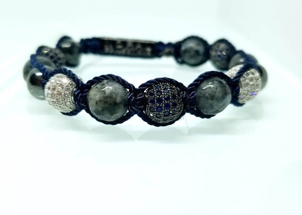 LABRADORITE WITH CZ DIAMONDS BRACELET