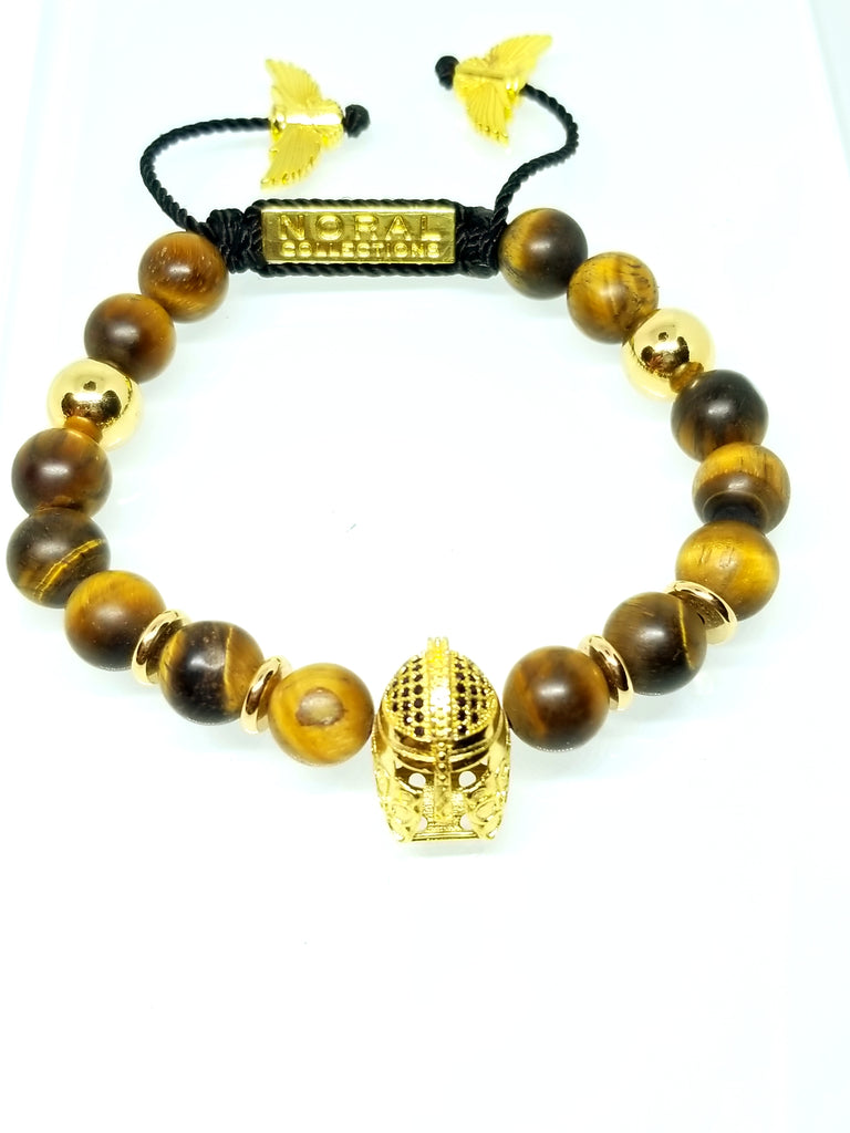 TROJAN HEAD WITH MATTE TIGER EYE BRACELET
