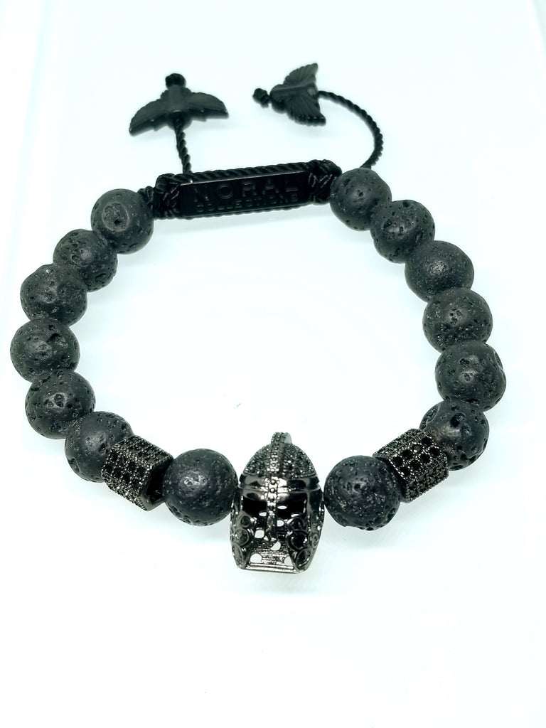 TROJAN HEAD WITH LAVA ROCK BRACELET