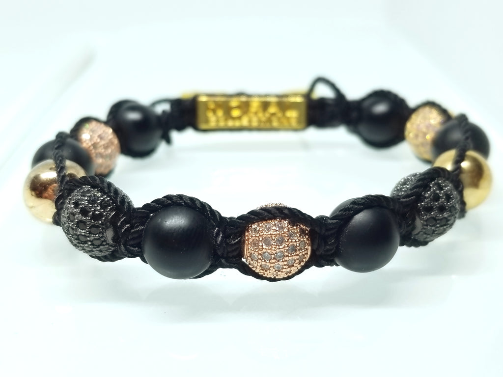 BLACK ONYX WITH BLACK AND ROSE GOLD CZ DIAMOND BRACELET