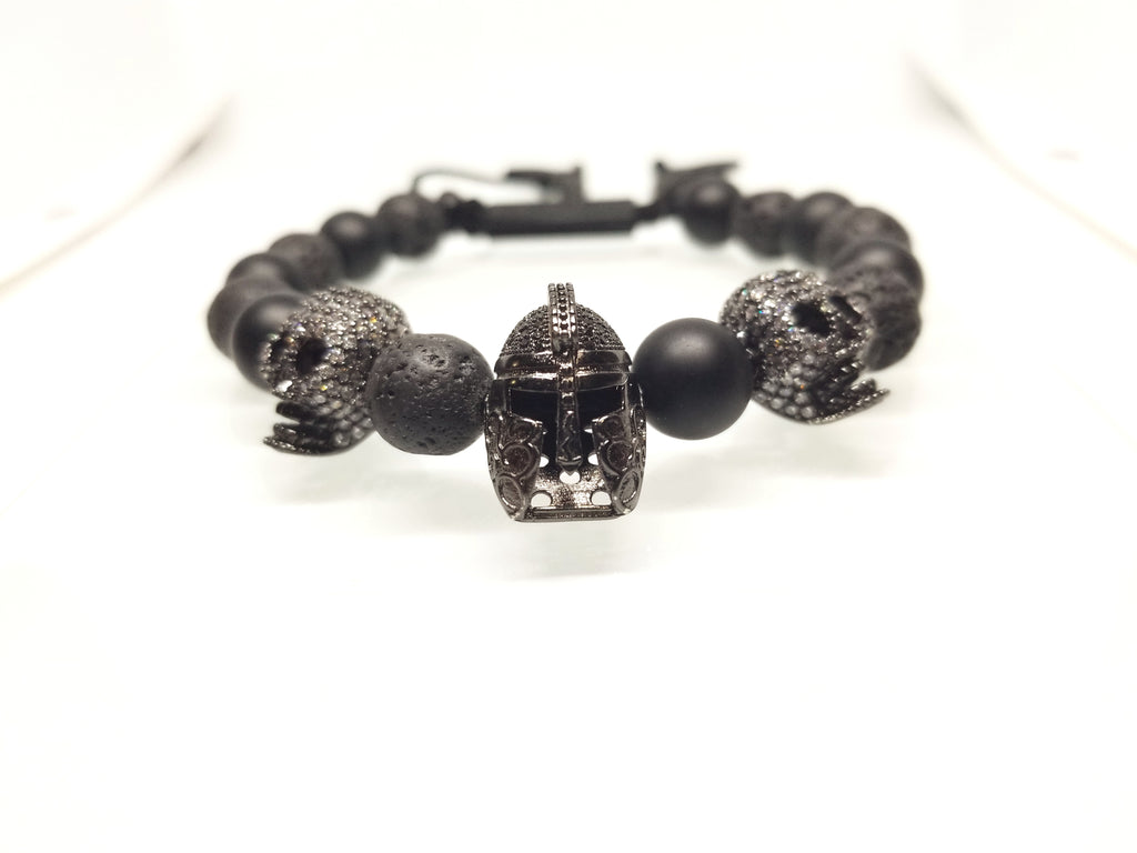 TROJAN WITH SKULL, BLACK ONYX AND LAVA ROCK BRACELET