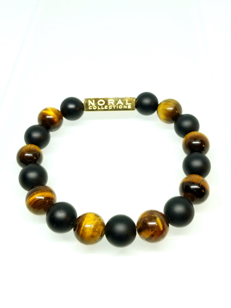 TIGER AND BLACK ONYX BEAD TO BEAD BRACELET
