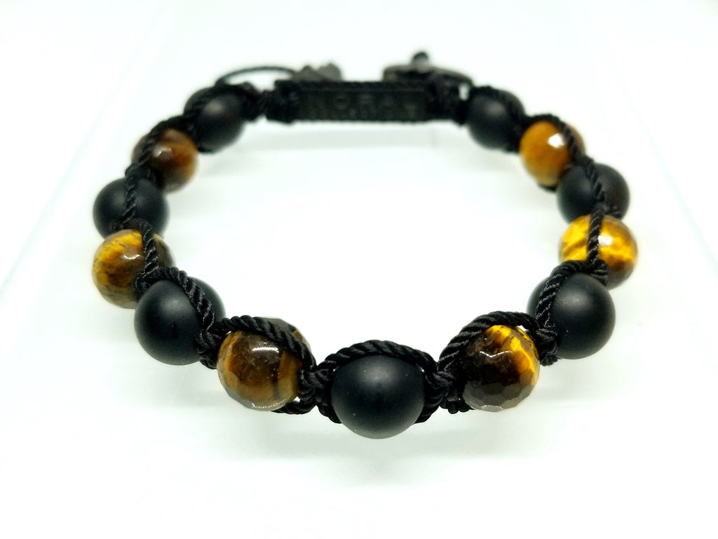 TIGER EYE AND BLACK ONYX BRAIDED BRACELET