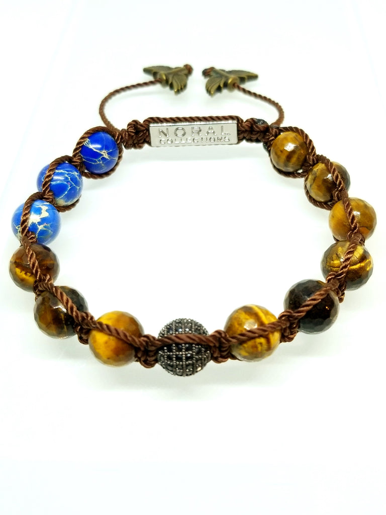 CZ DIAMOND WITH TIGER EYE AND JASPER BRACELET