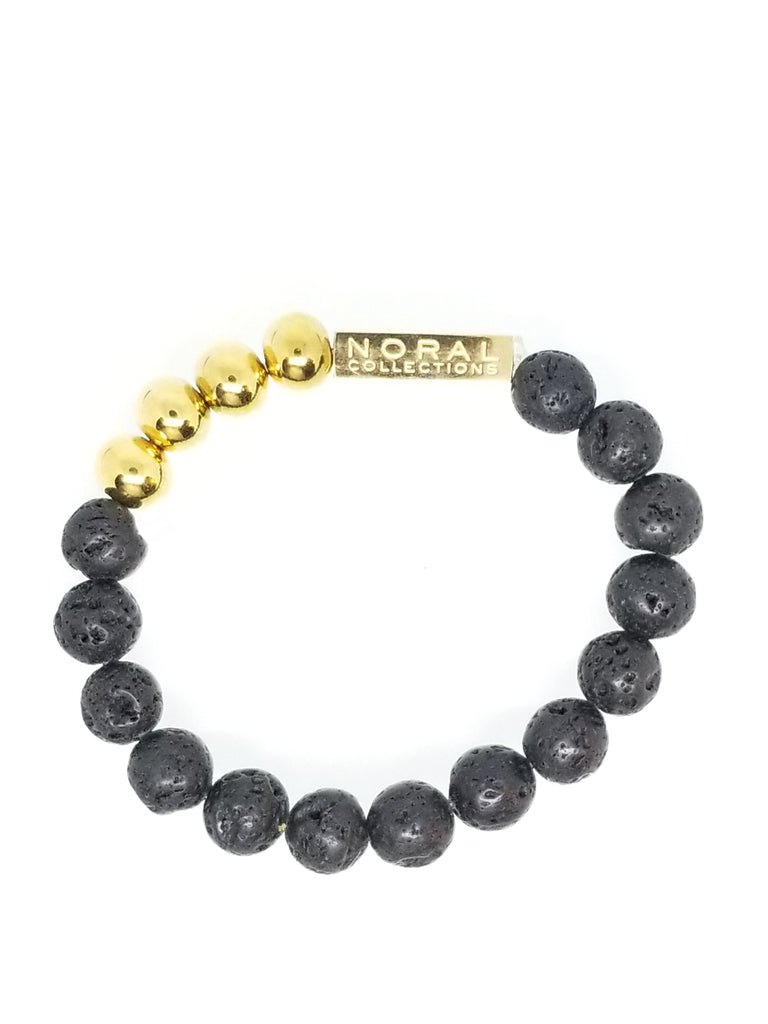 LAVA ROCK WITH A TOUCH OF GOLD BRACELET