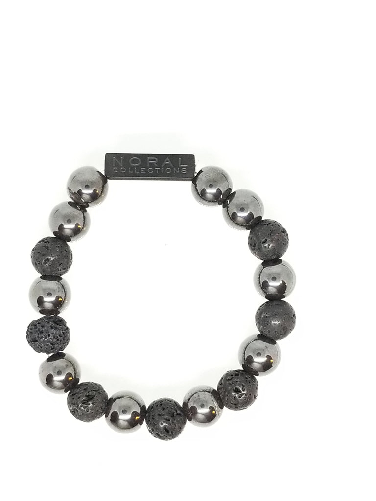 HEMATITE AND LAVA ROCK BRACELET