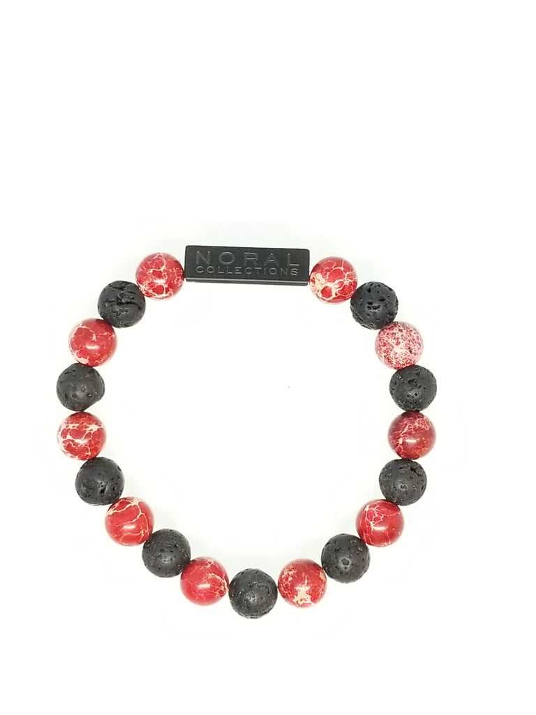RED JASPER AND LAVA ROCK BRACELET