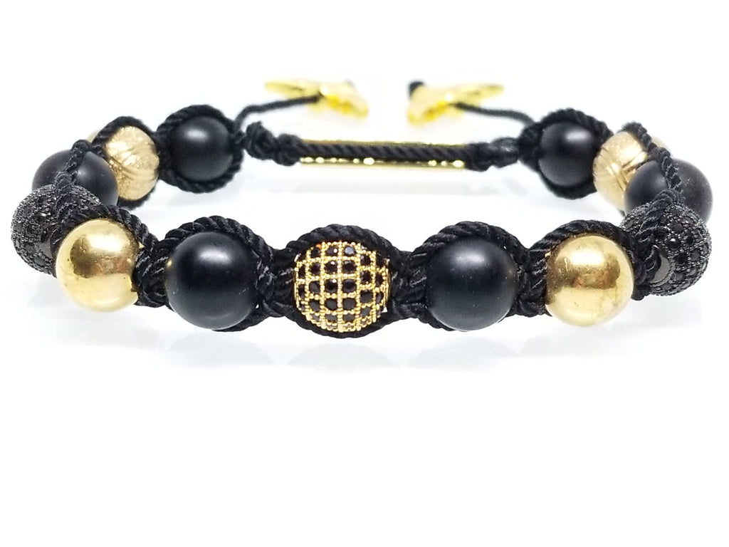 Black Onyx and Cz Diamond Bracelet