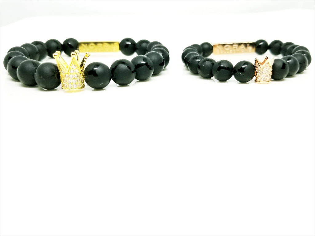 COUPLES GOAL'S BLACK ONYX WITH CZ DIAMOND CROWN BRACELET'S