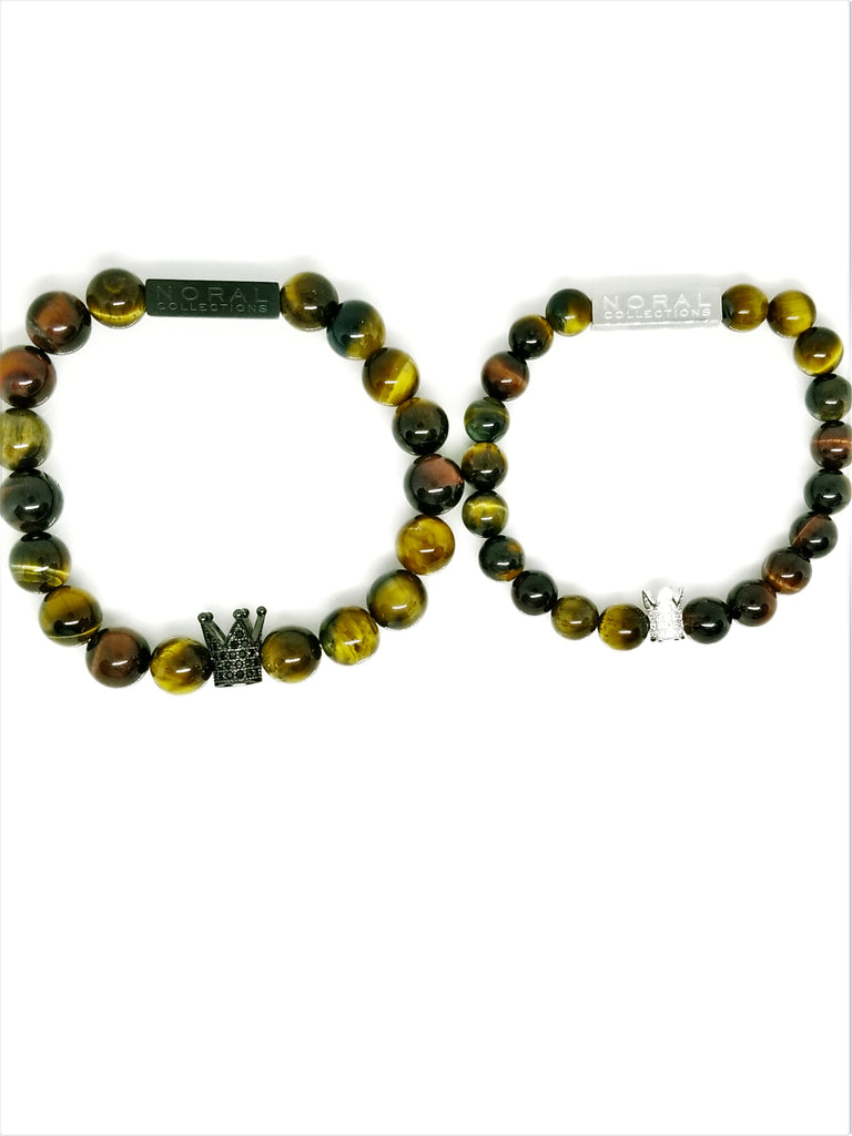COUPLE'S GOALS TIGER EYE CZ CROWNS BRACELET