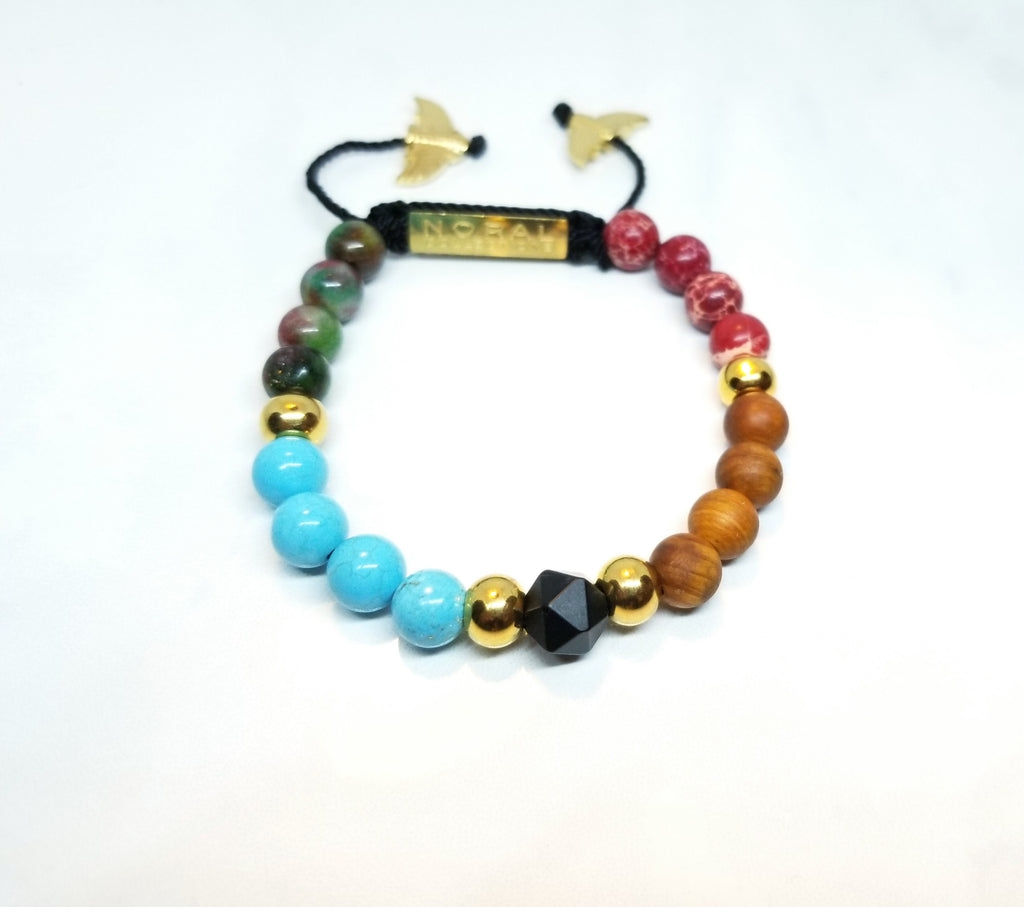 Cedar Wood, Agate, Jasper and Turquoise Bracelet