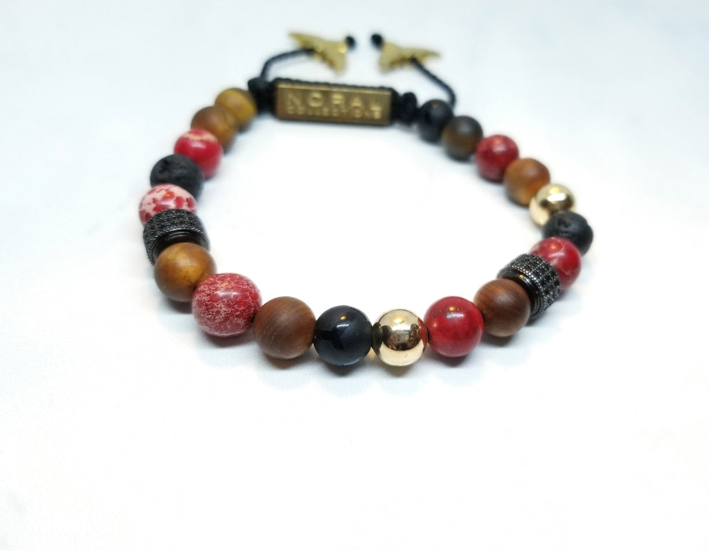 Cedar Wood, Red Jasper, Black Onyx, and Lava Rock Bracelet
