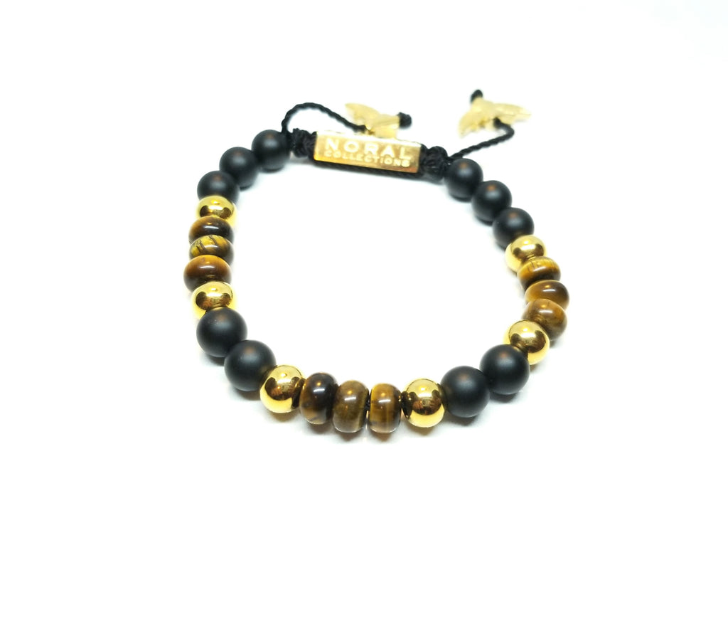 Black onyx, Tiger Eye with a hint of Gold Bracelet