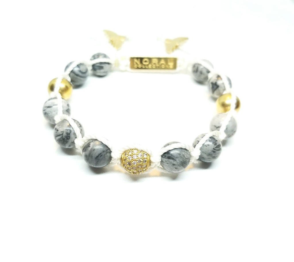 Map Jasper with Cz diamond Bracelet