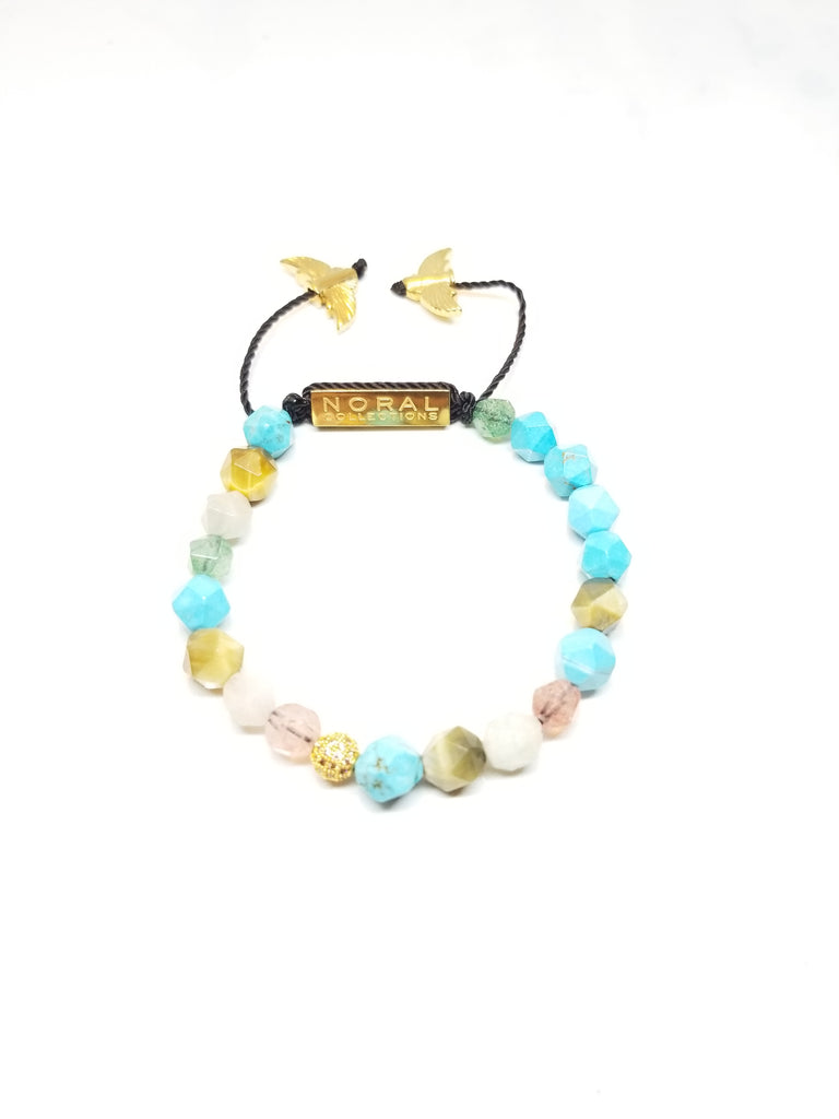 Diamond cut Strawberry Quartz ,Tiger Eye, Rose Quartz and Turquoise Bracelet