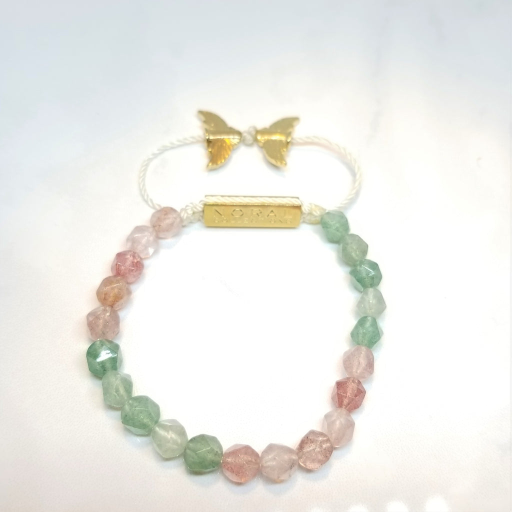Strawberry Quartz Diamond cut Bracelet