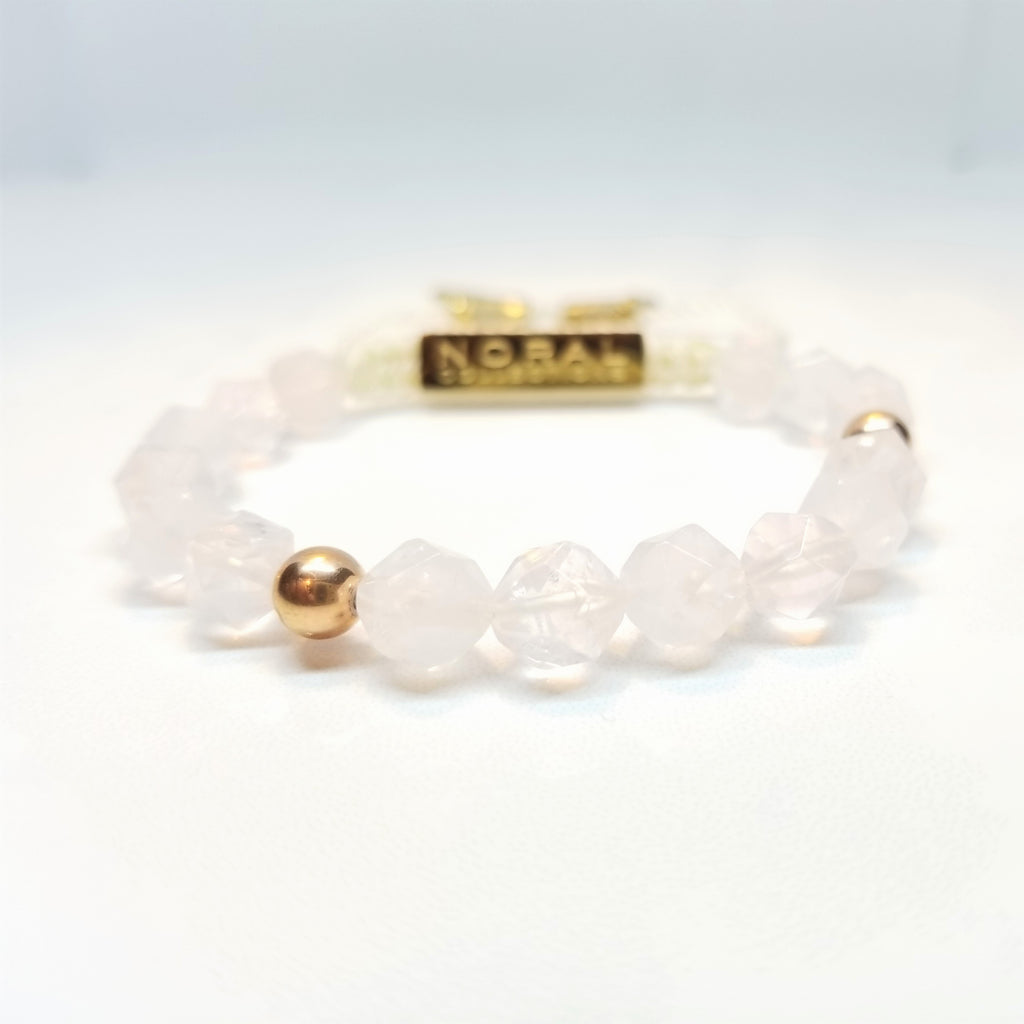 Rose Quartz diamond cut Bracelet