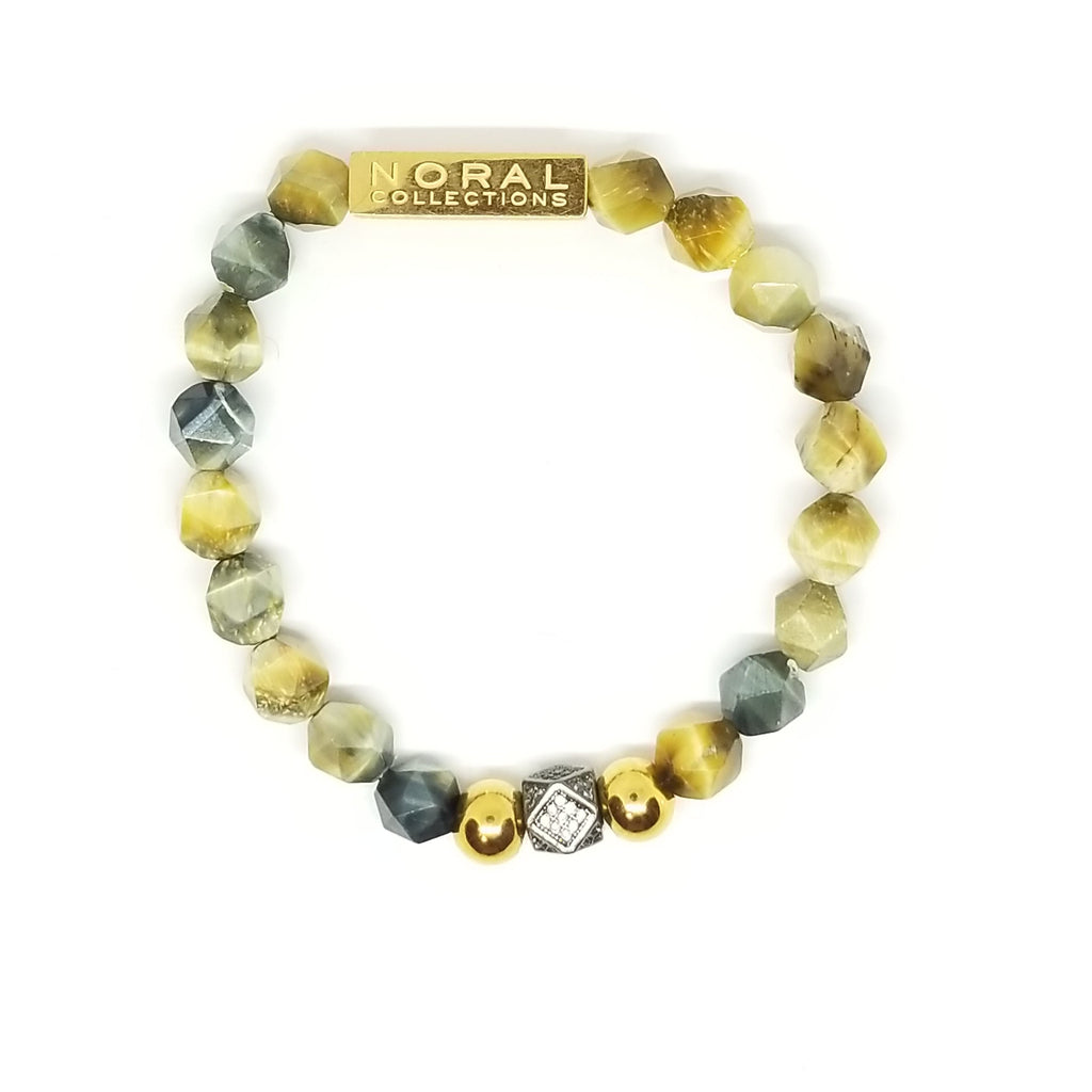 MULTI COLOR TIGER EYE WITH A CZ DIAMOND BRACELET