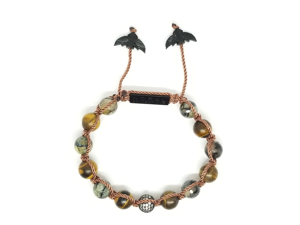Matte Tiger eye with Crackle Agate and CZ Diamond Bracelet