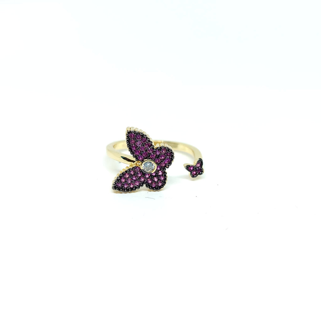 Cz Diamond Butterflies Ring