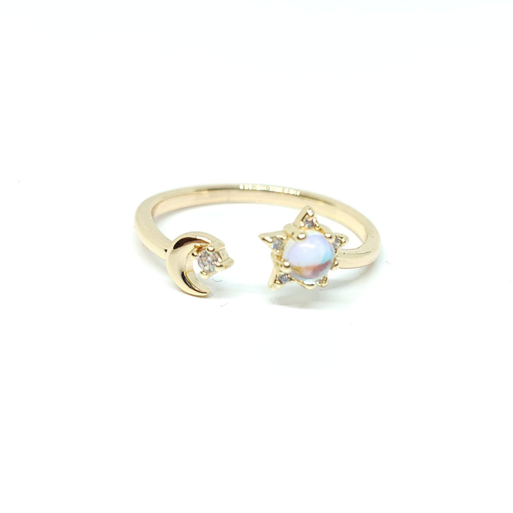 Opal Moon And Star Ring