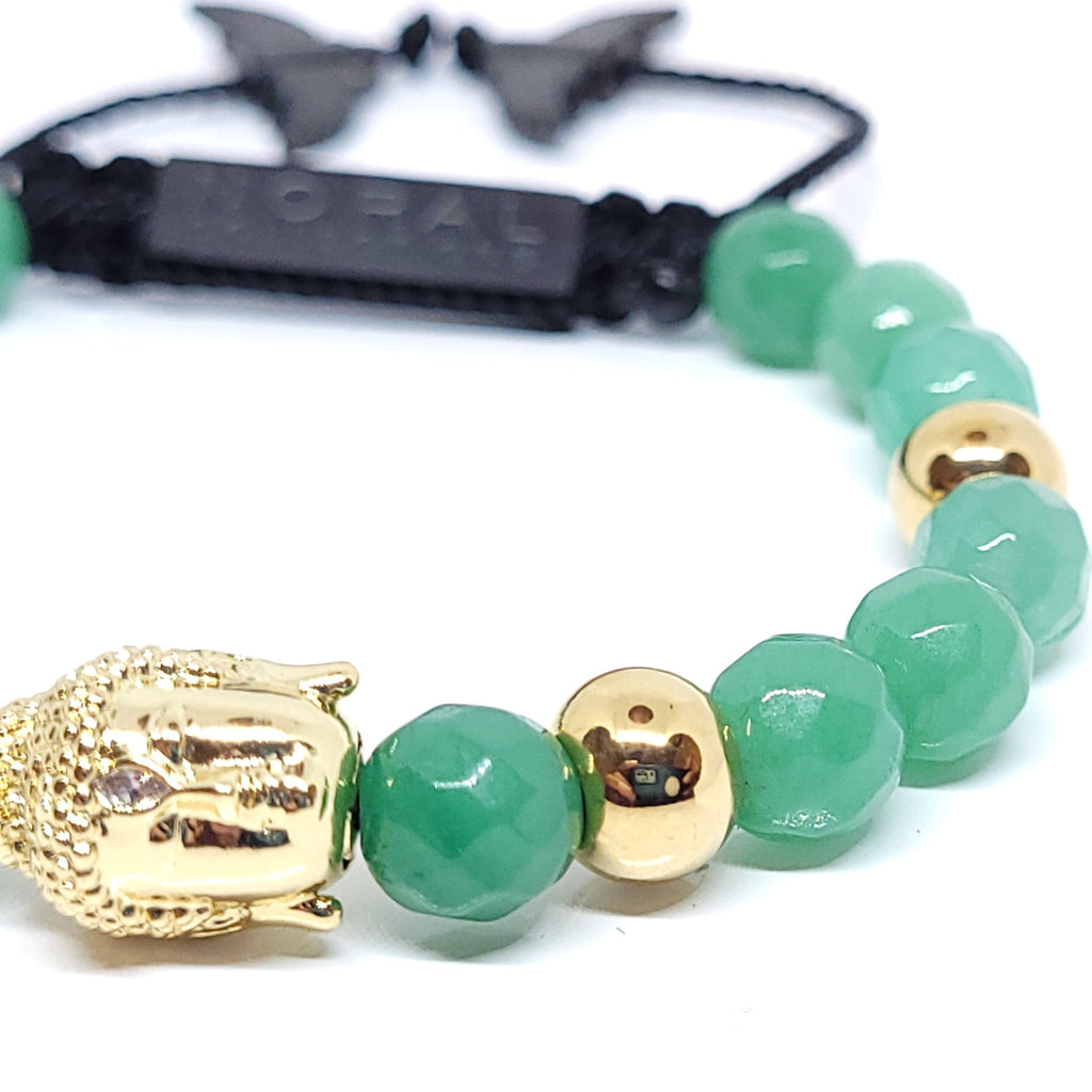 Gold Buddha Head with Jade Bracelet