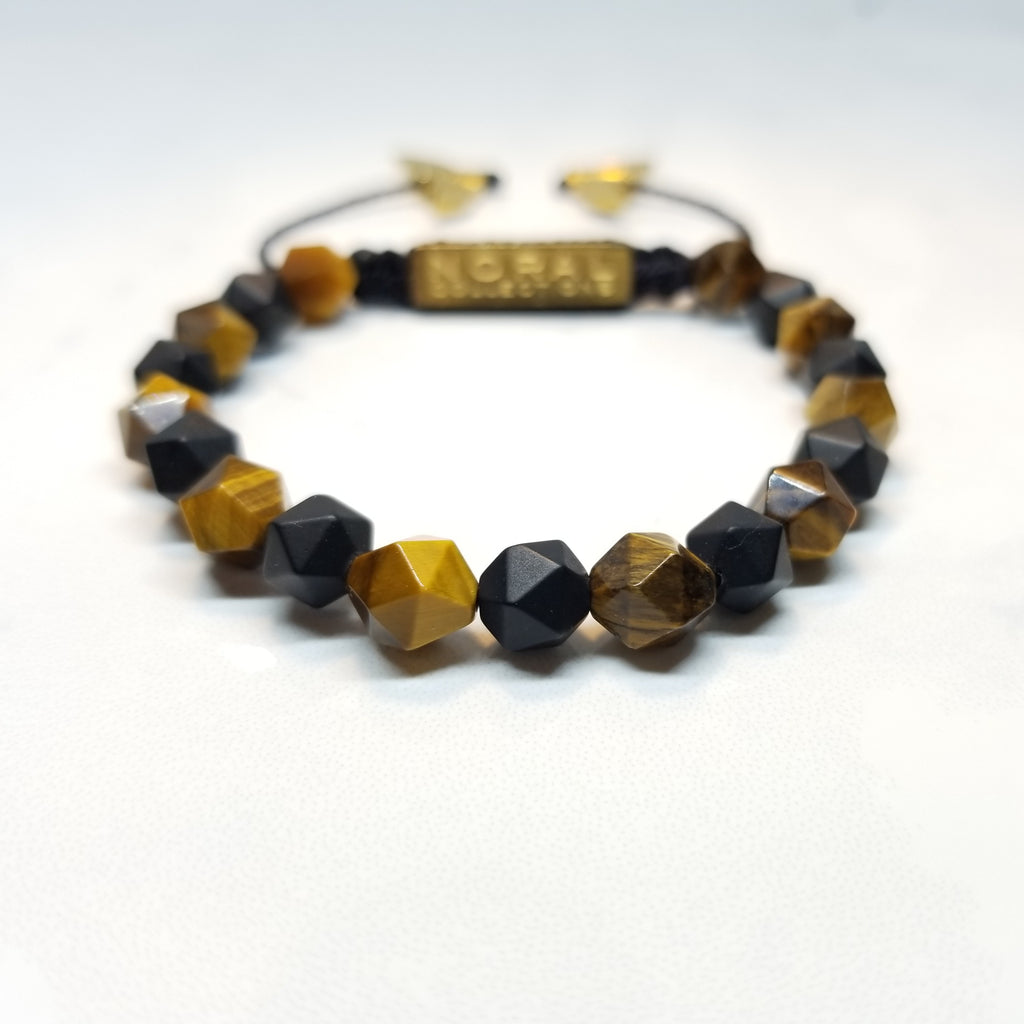 Diamond Cut Tiger Eye and Black Onyx Bracelet