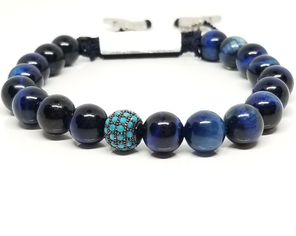 Blue Tiger Eye with Cz Diamond Bracelet