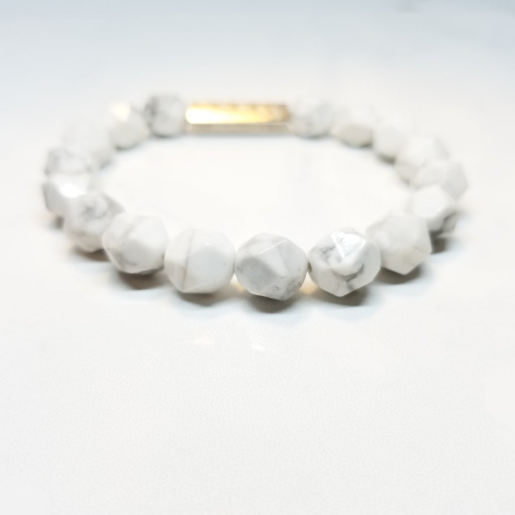 Diamond Cut Howlite Bracelet