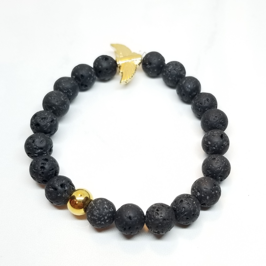Lava Rock With 1 Gold Bead Bracelet