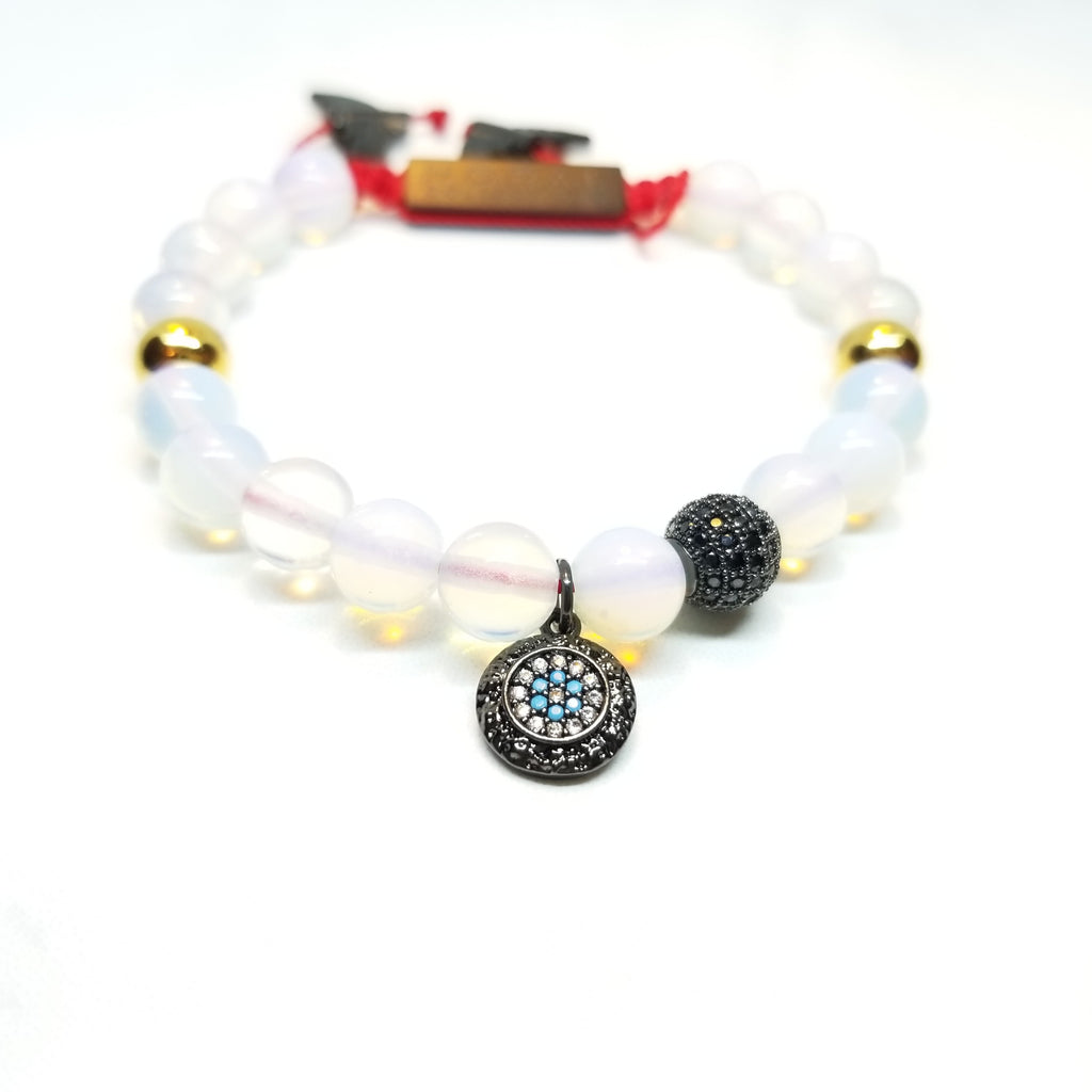 Opal Lite With Black Evil Eye Bracelet